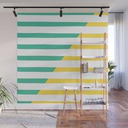 Beach Stripes Green Yellow Wall Mural