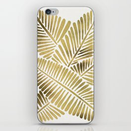 Tropical Banana Leaves – Gold Palette iPhone Skin
