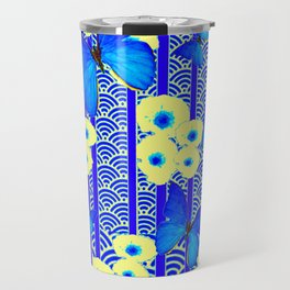 Blue Butterflies Cream-Blue Asia Style Modern Art Travel Mug