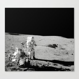Apollo 14 - Black & White Moon Work Canvas Print