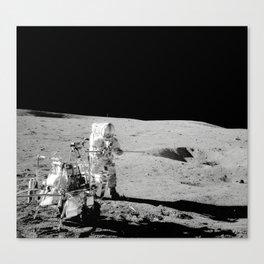 Apollo 14 - Black & White Moon Work Canvas Print