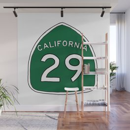 Hand Drawn Green California 29 Highway Sign Napa Valley Wall Mural