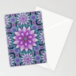 Embroidered purple & green Stationery Cards
