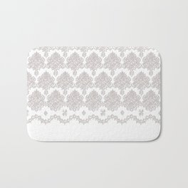 Off-White Damask Chenille with Lace Edge Bath Mat