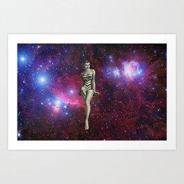 Space Swimsuit Diving Art Print