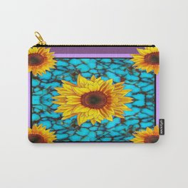 Puce-Purple Sunflowers Turquoise Gemstone Art Design Carry-All Pouch