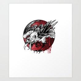 Blood Raven - drawing, symbol, mysticism Art Print