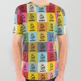 HAPPY SQUARES All Over Graphic Tee