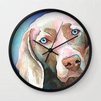greg guillemin Wall Clocks featuring Greg The Weimaraner by bmeow