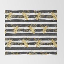 Golden bee noir Throw Blanket