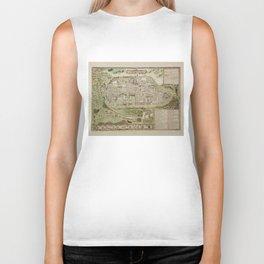 Vintage Map of Jerusalem Israel (16th Century) Biker Tank