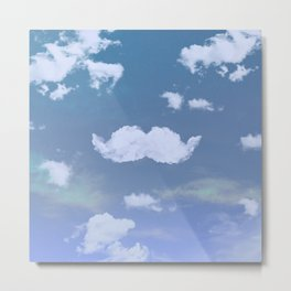 Funny Mustache White Clouds Blue Skyscape Metal Print