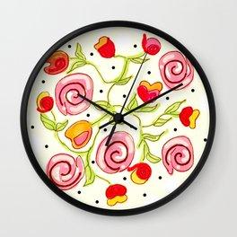 Polka dot posies Wall Clock