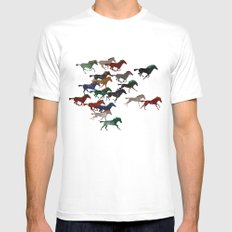 Horse Stampede Mens Fitted Tee MEDIUM White