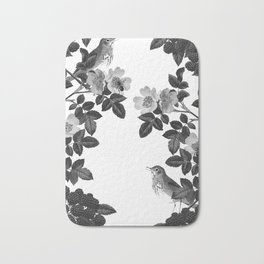 Birds and the Bees Black and White Bath Mat