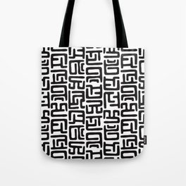 Black And White African Abstract Shapes Tote Bag