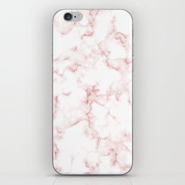 Pink Rose Gold Marble Natural Stone Gold Metallic Veining White Quartz iPhone Skin