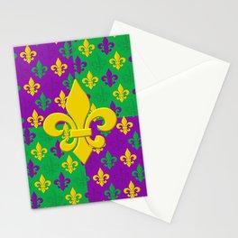 Mardi Gras Fleur-de-Lis Pattern Stationery Cards