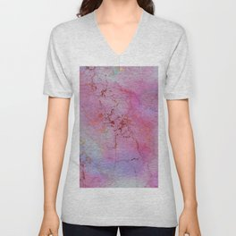 Modern abstract gold pink lilac watercolor marble Unisex V-Neck