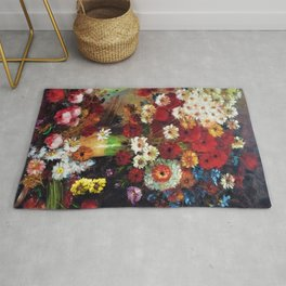 Red Poppies, Dahlias, Daises, Begonia, Parrot Tulips in Vase Tuscany Still Life by Vincent van Gogh Rug