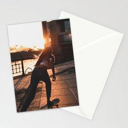 Wonderful Idyllic Girl Riding Skateboard German Parliament Romantic Sunset Ultra HD Stationery Cards