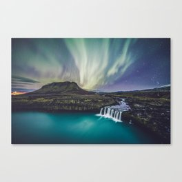 Northern Lights at Thjofafoss (Iceland) Canvas Print