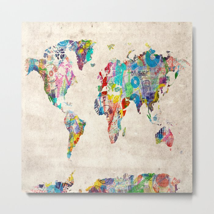 world map music art Metal Print