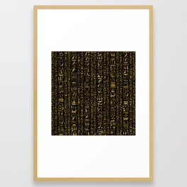 Egyptian hieroglyphs vintage gold on black Framed Art Print