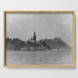 Snowy Bled Island Mono Serving Tray