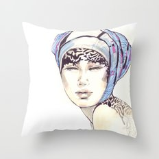 Woman portrait with blue turban Throw Pillow