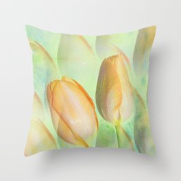 Water colour Spring Tulips Throw Pillow