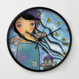 In Heaven with my Cat by Flor Larios Wall Clock
