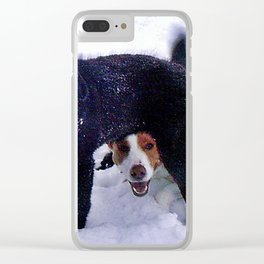 Happy Dogs in Snow Clear iPhone Case