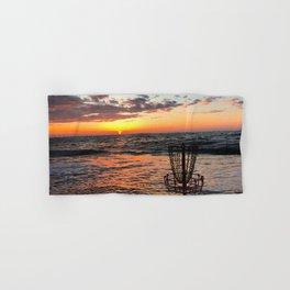 Disc Golf Basket Beach Ocean Innova Discraft Sunset Waves Virginia Vibram Hand & Bath Towel