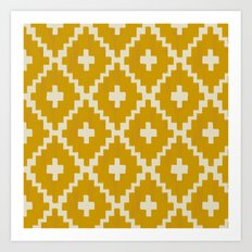 Navajo Diamonds Gold on Ivory Art Print