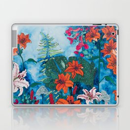 Blue Jungle of Orange Lily and Pink Trumpet Vine Floral Laptop & iPad Skin