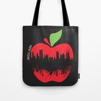 new york Tote Bags featuring NEW YORK, NEW YORK by mark ashkenazi