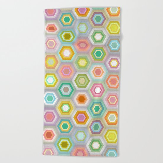 granny pastel hex Beach Towel
