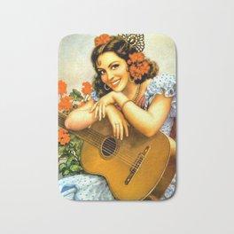 Mexican Calendar Girl with Guitar by Jesus Helguera Bath Mat