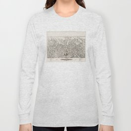 Vintage Pictorial Map of Marlborough MA (1878) Long Sleeve T-shirt