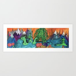 Jovial Nessie Guards Stehekin and the Rose Succulents Art Print