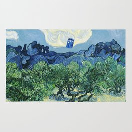 Tardis Flying Painting Rug