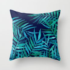 Watercolor Palm Leaves on Navy Throw Pillow