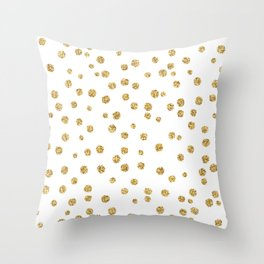 Gold glitter confetti on white - Metal gold dots Throw Pillow