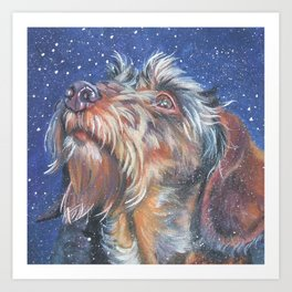 The wirehaired Dachshund dog art portrait from an original painting by L.A.Shepard Art Print