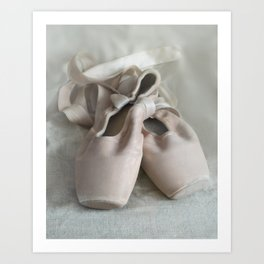 Pink ballet shoes Art Print