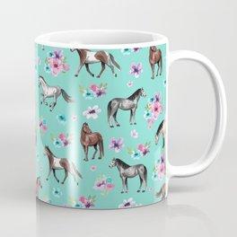 Hand drawn horses, Flower horses, Floral Pattern, Aqua Blue Coffee Mug