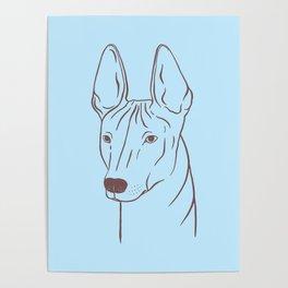 Xoloitzcuintli (Light Blue and Taupe) Poster