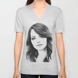 Emma Stone minimalist digital portrait Unisex V-Neck
