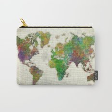 World Map Color Carry-All Pouch